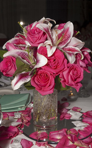 pink and white centerpiece with oriental lilies and roses. Black Bedroom Furniture Sets. Home Design Ideas