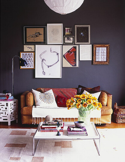 James Leland Day {eclectic vintage modern living room w/ black ...