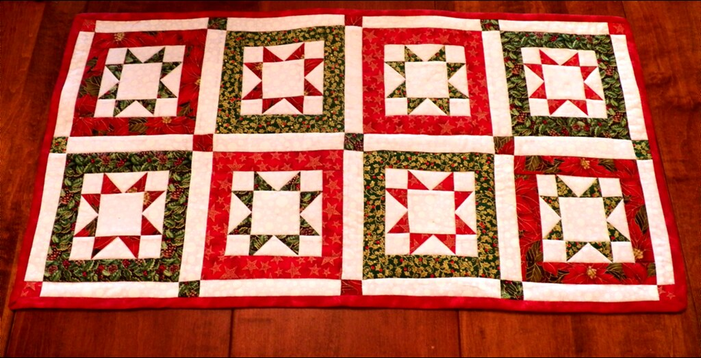 north star quilted christmas table runner by artthreads
