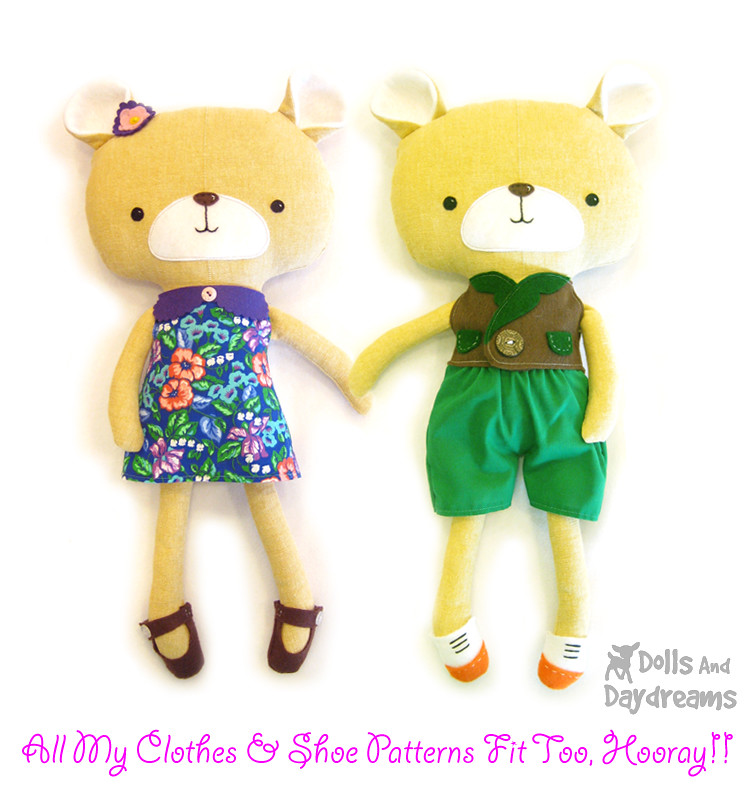 kawaii teddy bear stuffed toy softie sewing pattern dress … | Flickr