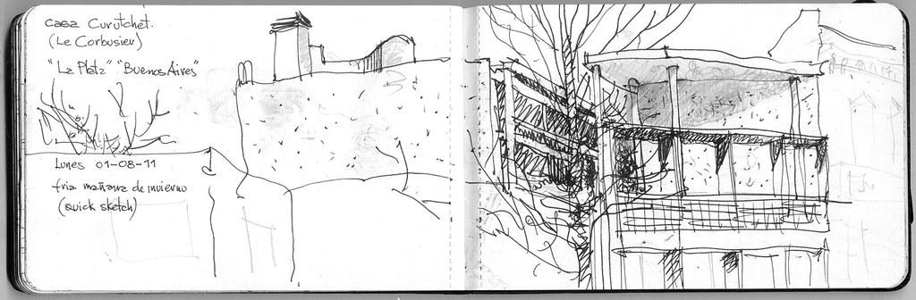 Casa curutchet le corbusier quick sketch tinta sobre - Casas de le corbusier ...