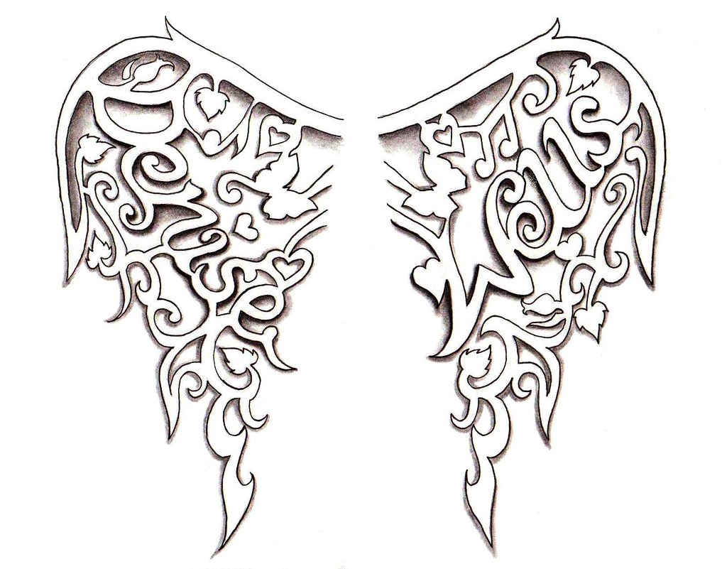 Name Drawings: Angel Wings Tattoo Design By Denise A. Wells