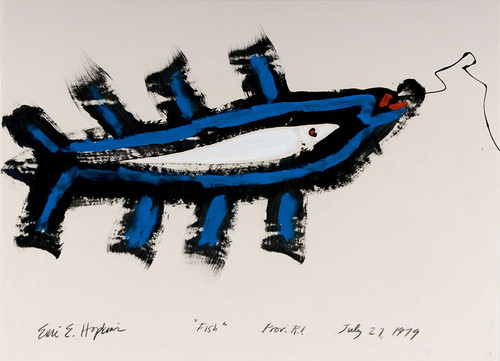 Fish, 1979, lobster buoy paint on paper, 22 x 28 inches. Collection of the artist. | by EricHopkinsGallery