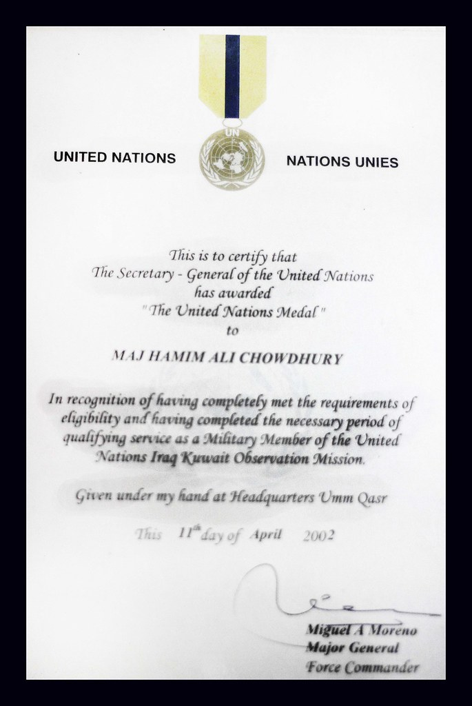 Certificated Form United Nations As A Peace Keeper At Iraq Flickr