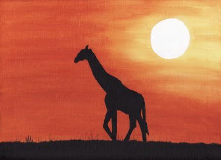 Giraffe Silhouette Silhouette of Giraffe Walking