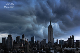 Wild afternoon skies: Empire State Building and ominous clouds on the skyline before the downpour | by NYCisMyMuse