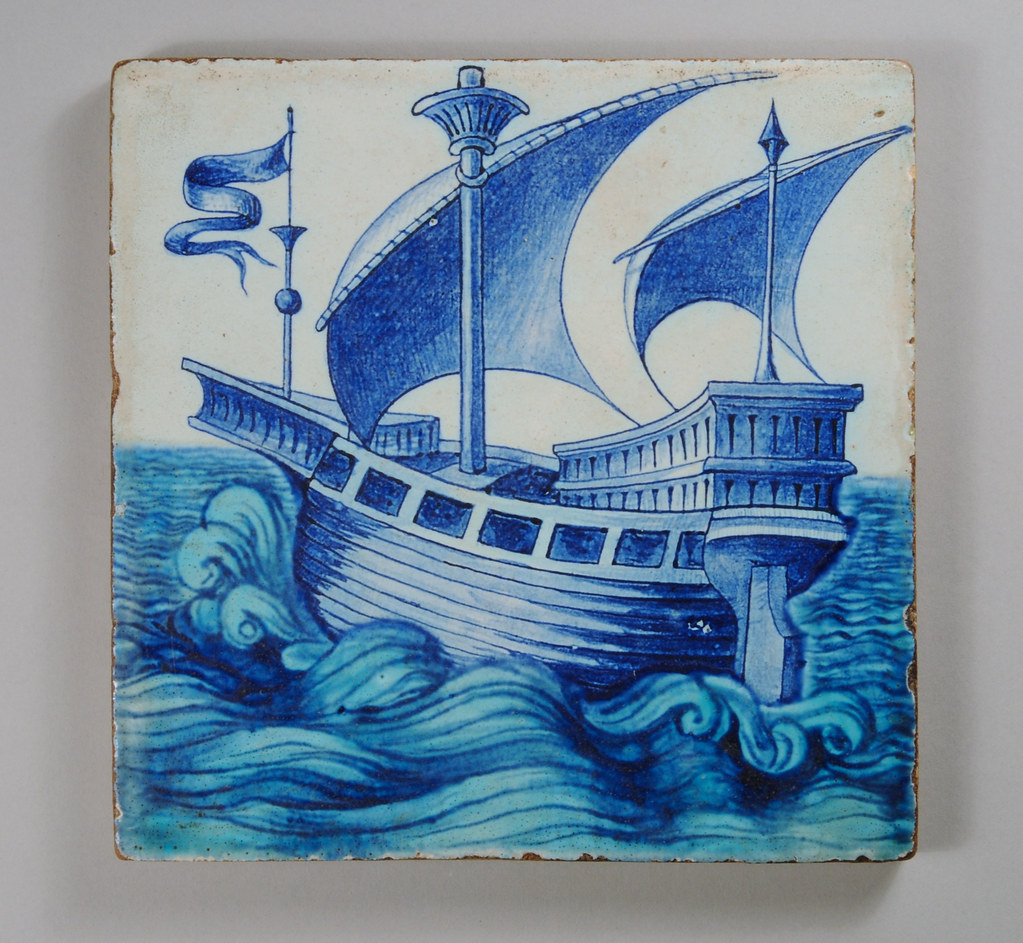 William De Morgan Ship Tile An Early Tile On A Dutch