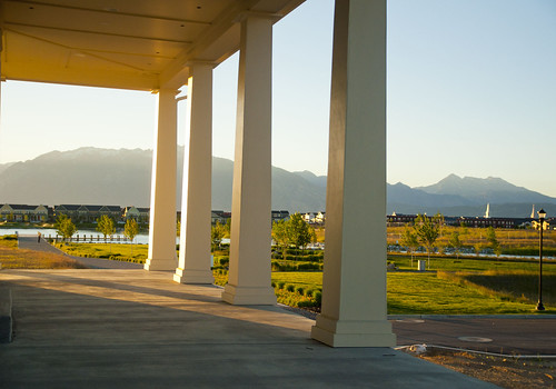 Rainey porch with park rainey homes model at daybreak for Rainey homes