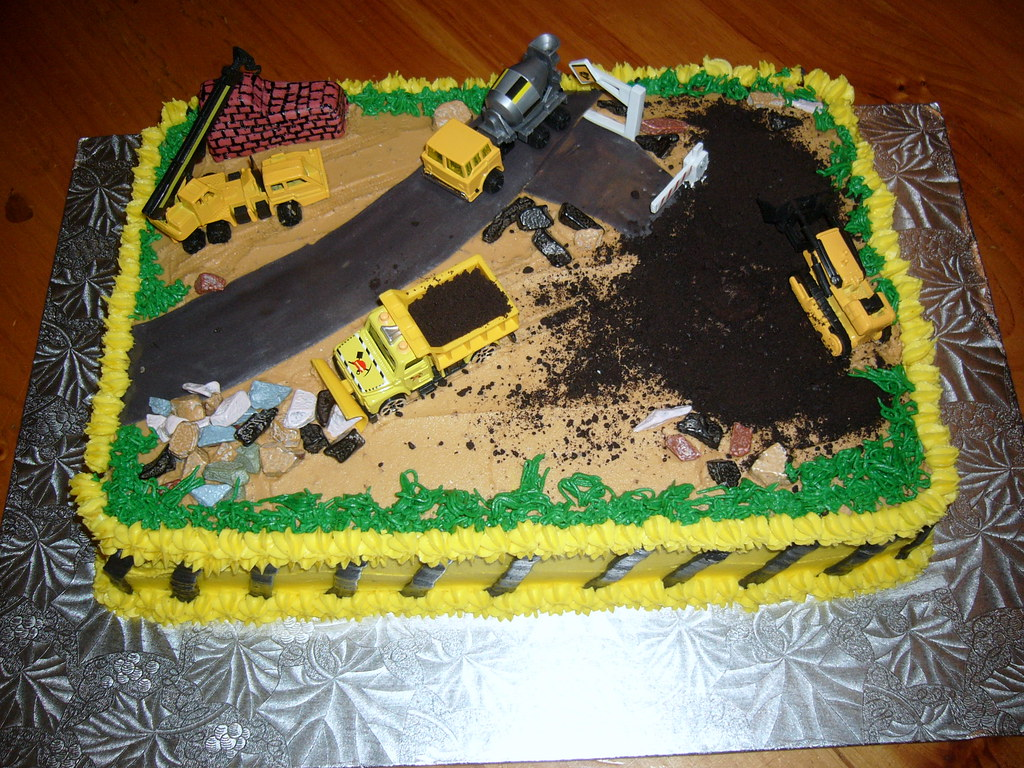 Childs birthday cake, construction site.  Dutch Oven Cakes  Flickr