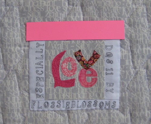 Close Up of Label, Name Blocked Out, Bitty Block | by FlossieBlossoms