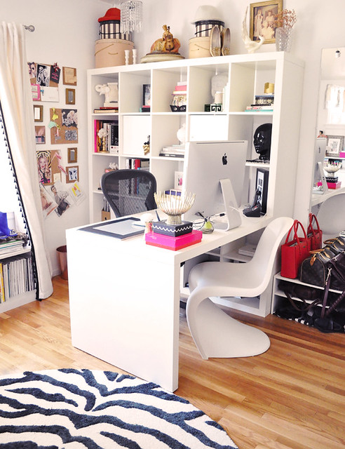 interesting ikea home office | Ikea expedit desk in home office with zebra rug and panton ...