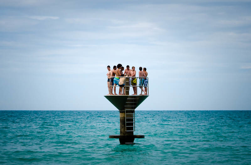 teenagers on a diving board in granville normandie france flickr