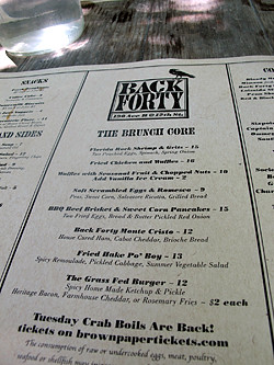 back forty menu | by David Lebovitz