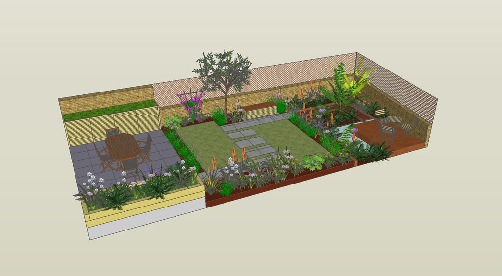 Tropical richmond garden 3d concept sketch by fork garden for Garden design in 3d using sketchup