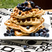 whole wheat waffles + wild blueberries + cinnamon butter