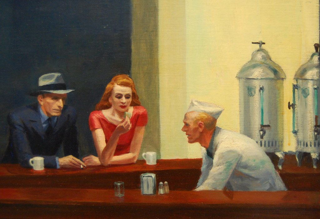edward hoppers nighthawks Nighthawks edward hopper, 1942 nighthawks (1942), a picture of a diner at night, continues hopper's concern with small-time businesses that was first established in early sunday morning.