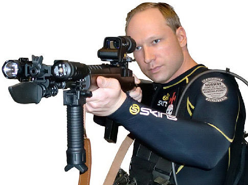 A handout made available by Scanpix Norway shows Anders Behring Breivik, arrested for the attacks in Norway, as he appears in the manifesto and the video he published on the day of the attack, discovered late on 23 July 2011.