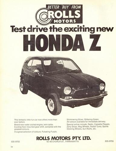 1973 honda z micro car ad australia covers a little for Honda car repair shop near me