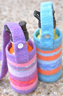felted water bottle carriers :: for michelle | by waldorf mama