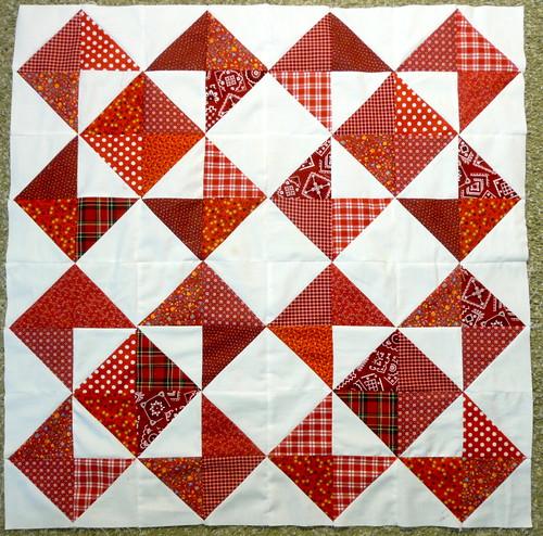 Half Square Triangle Quilt Blocks Fabrics Cut From My