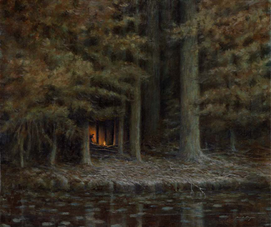 North Woods Campfire Michael Ringer Inspired By The Sentinel Frederic Remington 2011