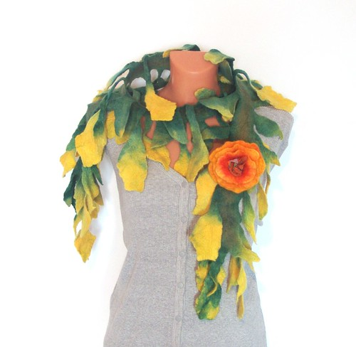Felted scarf - Crazy -Green Yellow with flower brooch | by GalaFilc