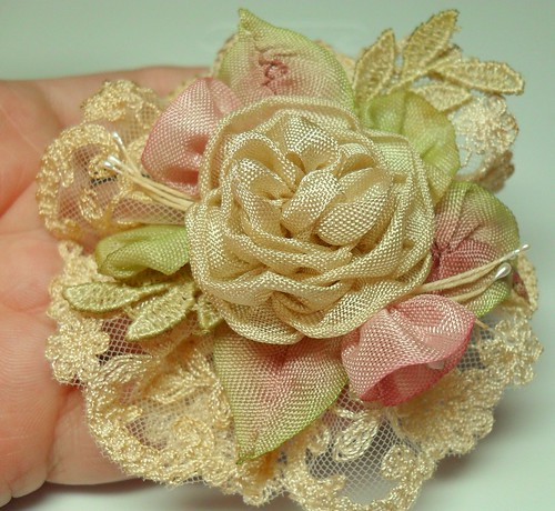 Tea dyed English lace with ribbonwork flowers | by lambsandivydesigns.com