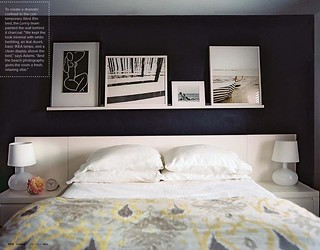 Gray + white + yellow bedroom: Benjamin Moore chalkboard paint + ikat duvet | by SarahKaron