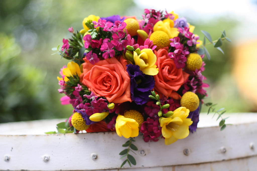 Bright orange yellow purple wedding flowers see more of ou flickr bright orange yellow purple wedding flowers by passion for flowers mightylinksfo