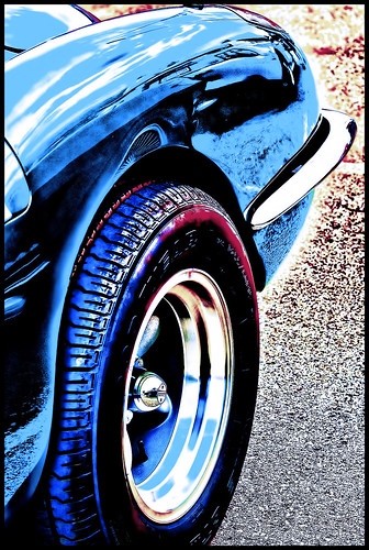 702 Norwin Car Show 1_117 Stingray & Mustang Reflects In A Corvette (Topaz Adjust HDR Sketch & DeNoise) | by Kern Little - digital lenswork photography