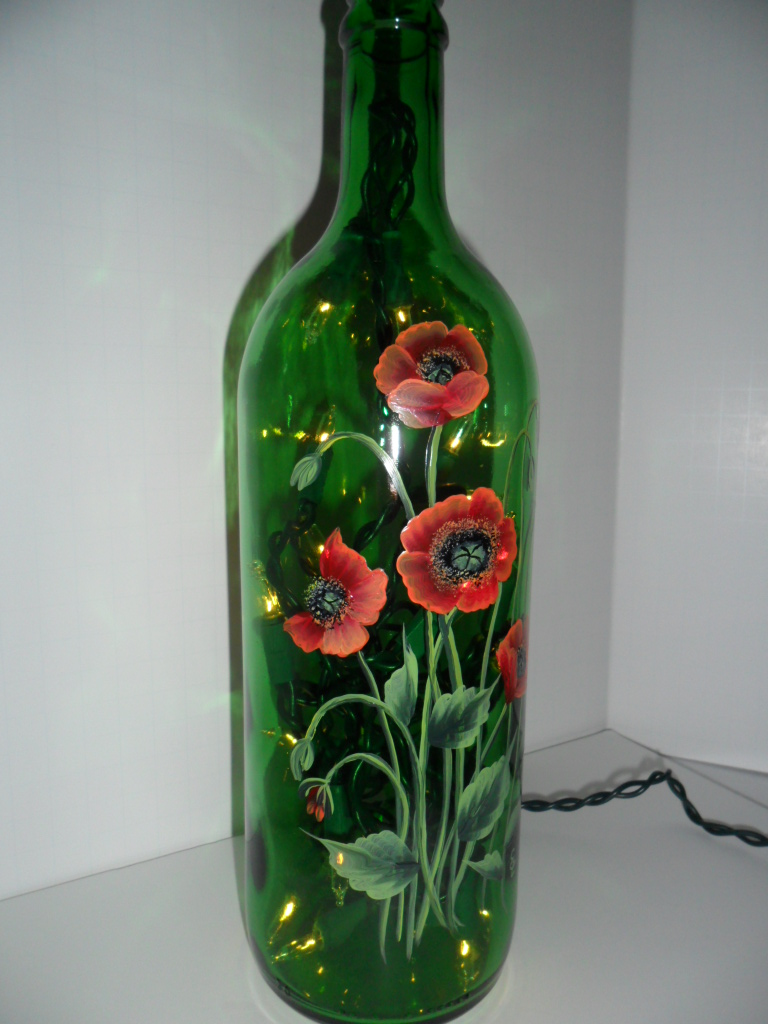 Poppy lighted wine bottle hand painted 750 ml i love for Painting flowers on wine bottles