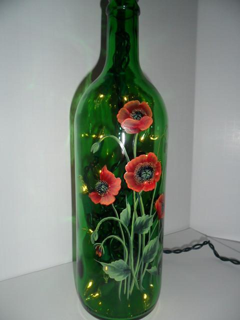 Poppy lighted wine bottle hand painted 750 ml flickr for Hand painted bottles