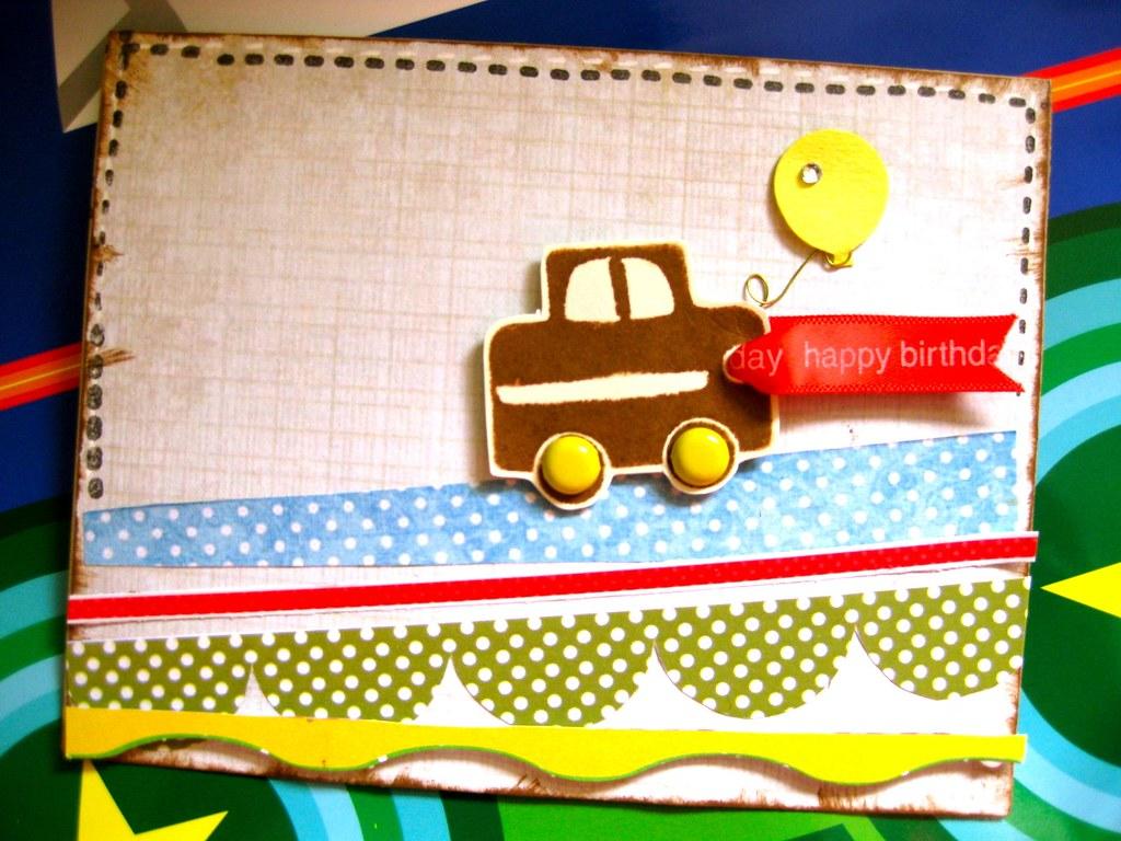 Balloon In Car Birthday Greeting Card