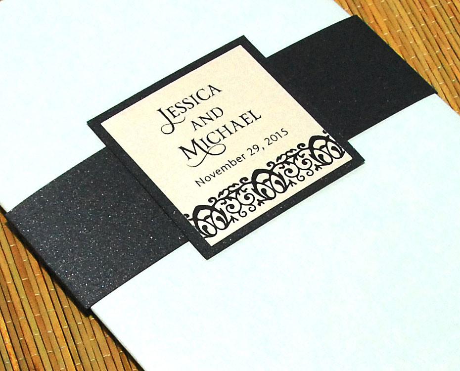 sophisticated damask border bi fold wedding invitation flickr