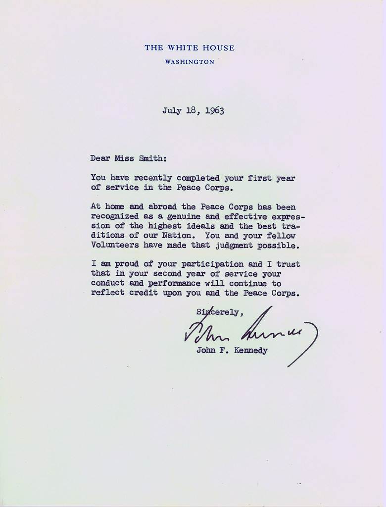 Letter From Jfk To Peace Corps Volunteer A Congratulatory Flickr
