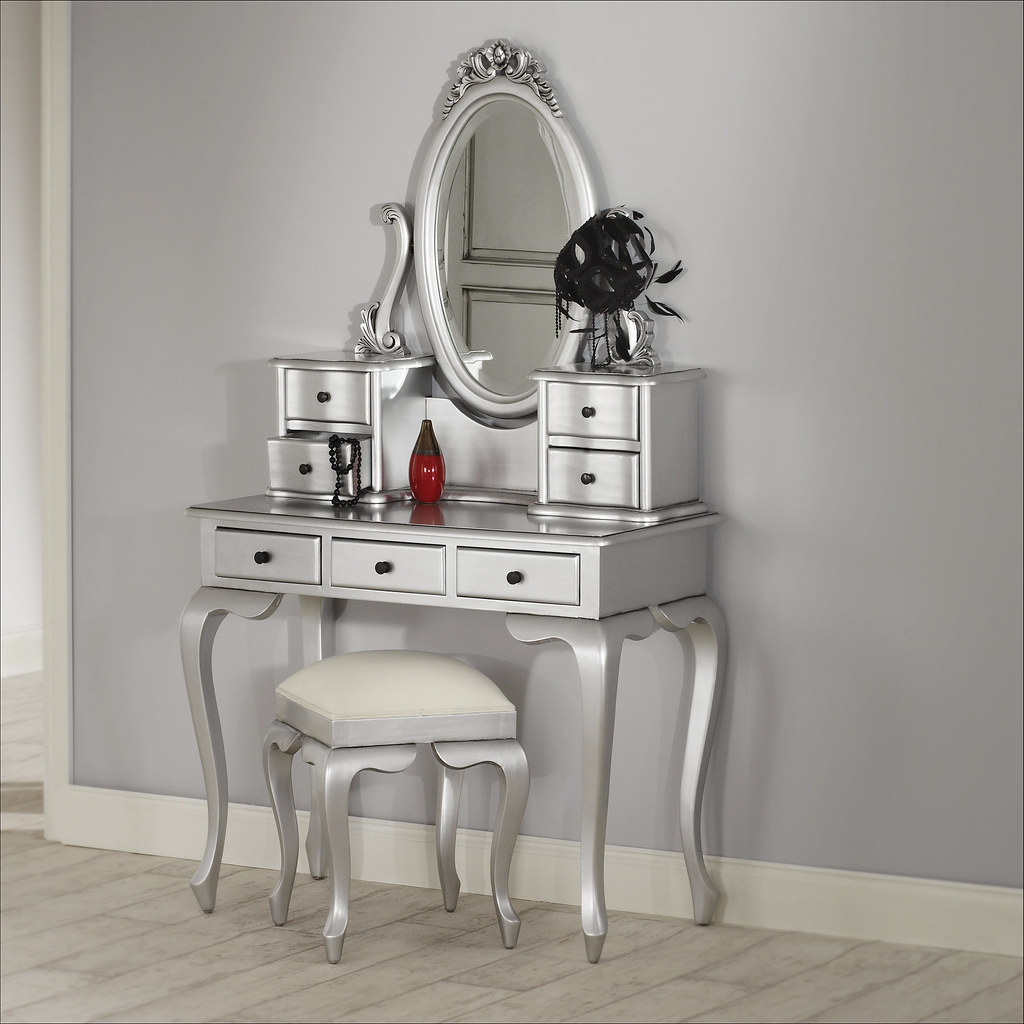 La rochelle silver dressing table featured here we have