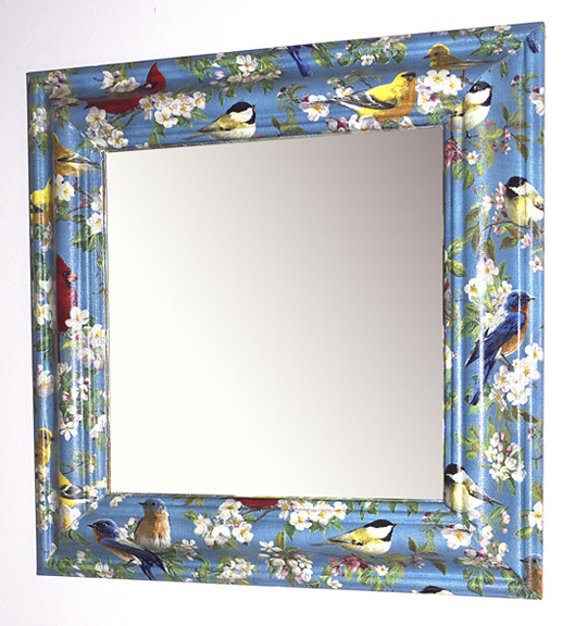 Birds Blossom Mirror Decoupaged Upcycled Wooden Frame
