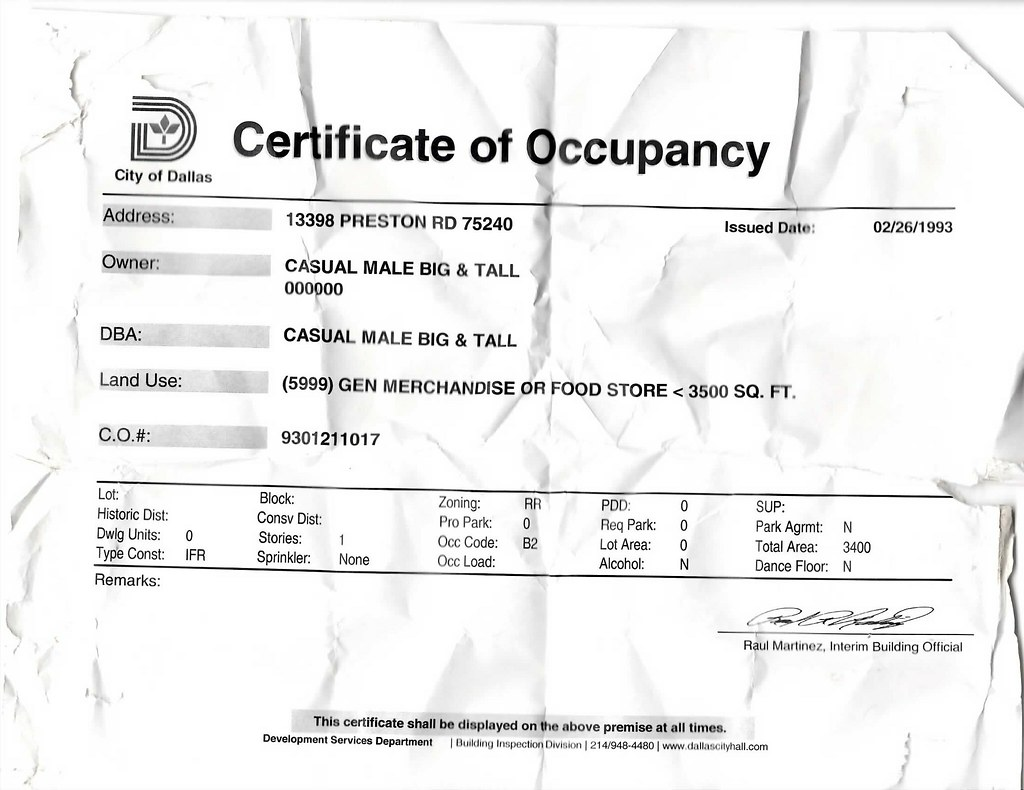 Dallas Texas Certificate of Occupancy Casual XL 1993 | Flickr