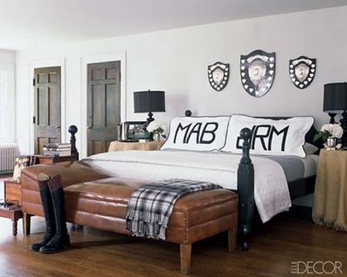 Elle decor gray black white and leather rustic modern b flickr for Fashion designer themed bedroom