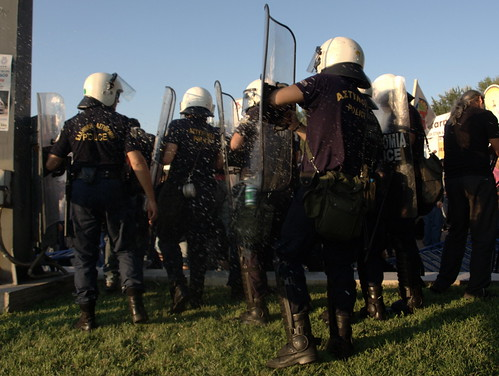 Greek riot police hit by flying beer can during Thessaloniki Trade Fair demonstrations | by Teacher Dude's BBQ