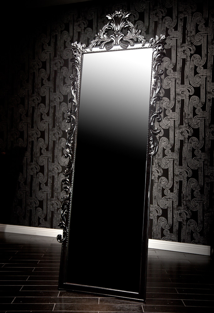 4123 black baroque dressing mirror this extremely tall