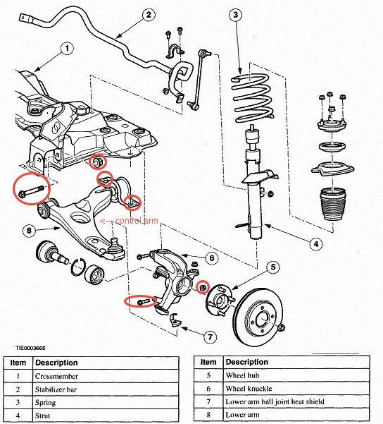 2001 ford focus control arm nuts and bolts