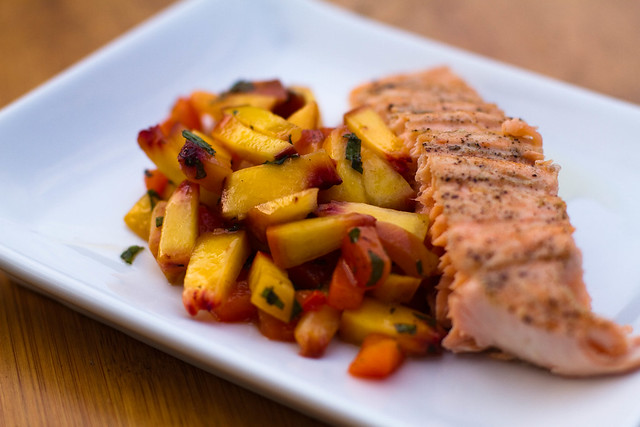 Grilled Salmon & Grilled Peach & Red Pepper Salsa