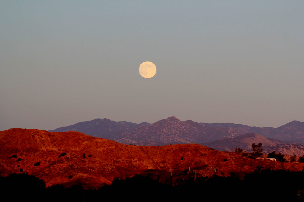Full Moon Over The Desert Mountains This Picture Was