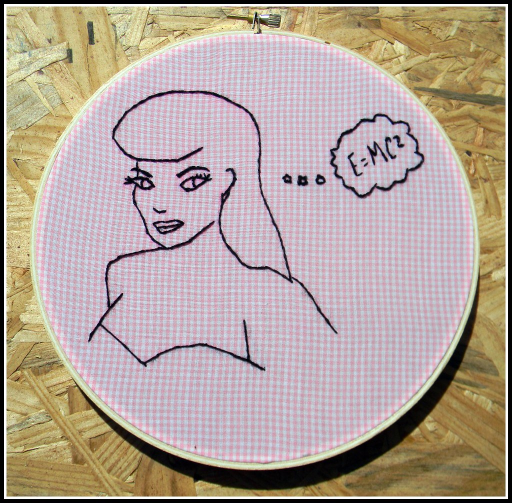 Beauty brains pin up girl embroidery hoop art the bold