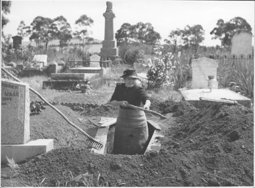 Josephine Smith digging a grave at the Drouin Cemetery, Victoria, [2] | by National Library of Australia Commons