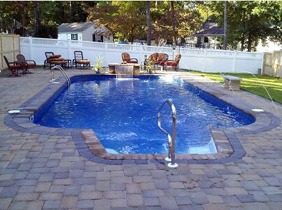 Inground Swimming Pool Rectangle 4ft Radius Paver Deck 01
