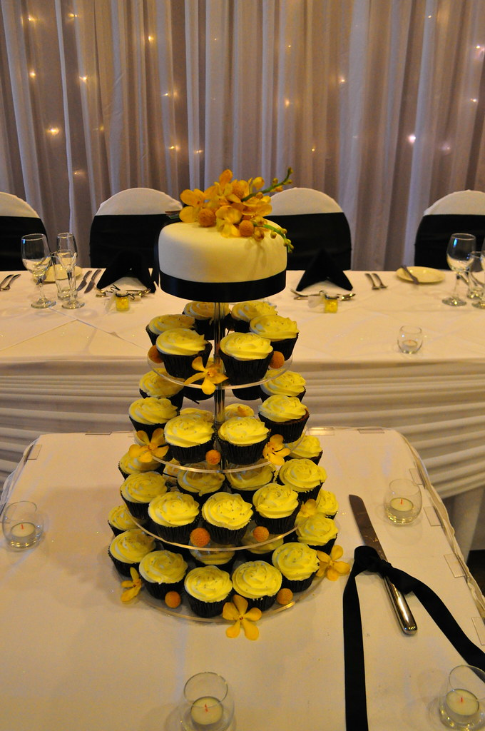 Black Yellow And White Wedding Cupcakes Double Choc Mud