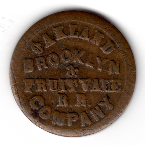1871 Oakland Brooklyn & Fruitvale Rail Road Company Token 8 Window obverse | by Jafafa Hots