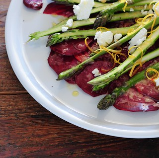 shaved beet & asparagus salad with goats cheese | by jules:stonesoup